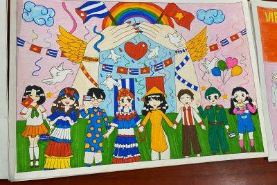 Tác phẩm tranh vẽ: VIỆT NAM – CUBA thắm tình đoàn kết của học sinh trường THCS Hoàng Hoa Thám
